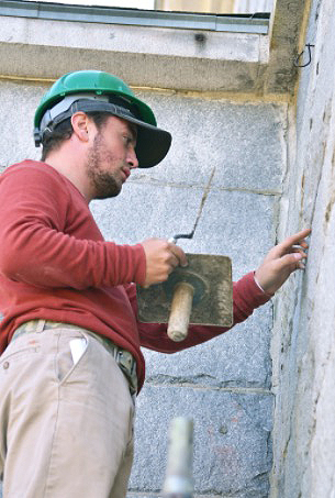 Daniel Wuorio at work repointing at the Kennebec Arsanel copy